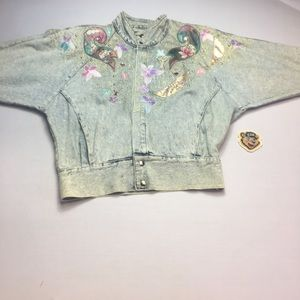 Vintage 80's Stonewashed Custom Denim Jean Jacket